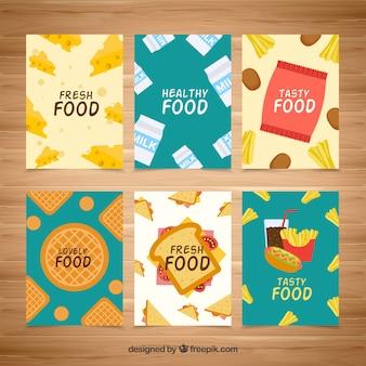 Coleção de cartão de comida saborosa com design plano