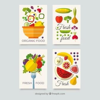 Coleção de cartão de comida saudável com design plano
