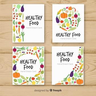 Coleção de cartão de comida saudável