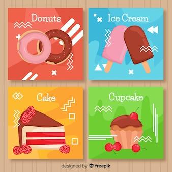 Coleção de cartão de comida