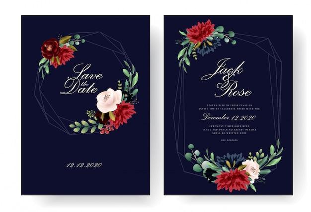 Coleção de cartão de convite de casamento da borgonha