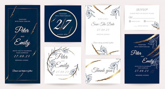 Coleção de cartão de convite de casamento de luxo.