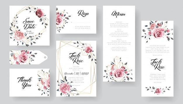 Coleção de cartão de convite de casamento floral moderno