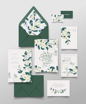 Coleção de cartão de convite de jasmim.