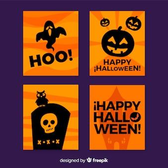 Coleção de cartão de cores de halloween preto e laranja