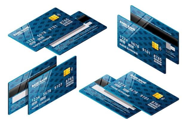 Coleção de cartão de crédito isométrico azul