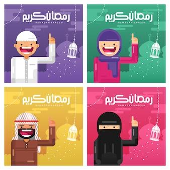 Coleção de cartão de cumprimentos do ramadã com ilustração de personagem árabe de estilo cartoon