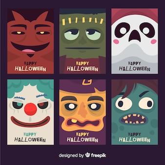 Coleção de cartão de dia das bruxas com monstros engraçados