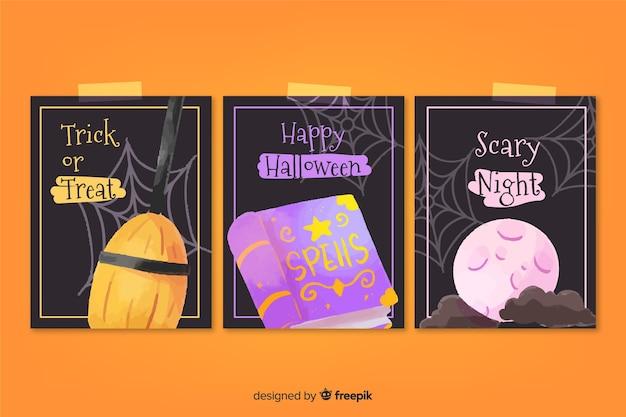 Coleção de cartão de dia das bruxas em aquarela