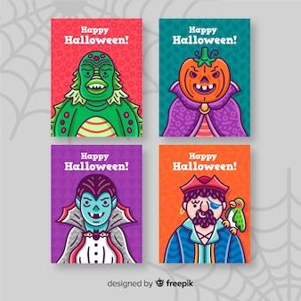 Coleção de cartão de dia das bruxas em fundo branco com teia de aranha
