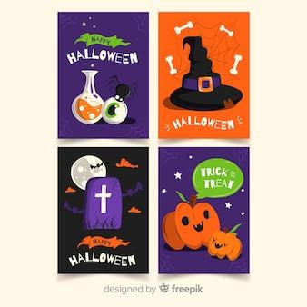 Coleção de cartão de dia das bruxas plana colorida