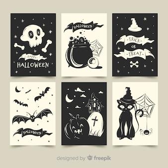 Coleção de cartão de dia das bruxas plana em preto e branco