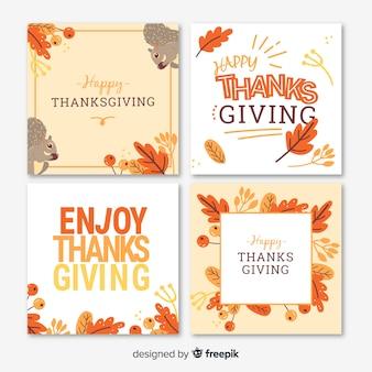Coleção de cartão de dia de ação de graças em design plano