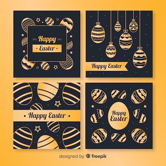 Coleção de cartão de dia de páscoa preto e dourado