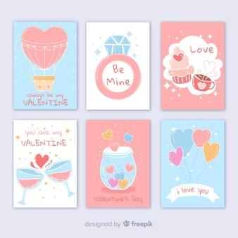 Coleção de cartão de dia dos namorados de cores pastel