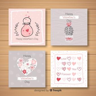 Coleção de cartão de dia dos namorados mão desenhada