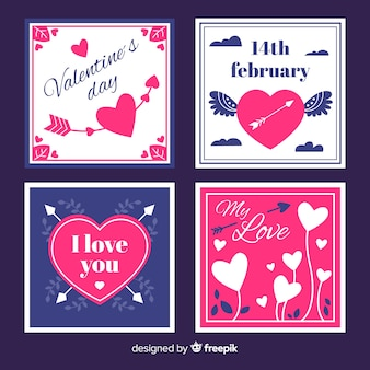 Coleção de cartão de dia dos namorados plana