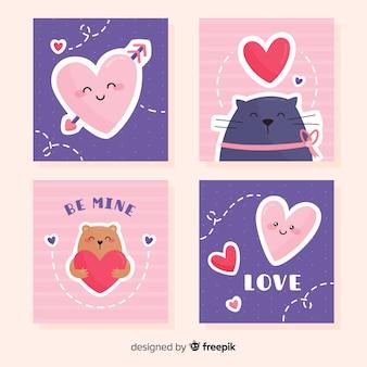 Coleção de cartão de dia dos namorados sorrisos