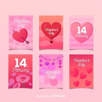 Coleção de cartão de dia dos namorados tons quentes