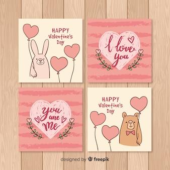 Coleção de cartão de dia dos namorados
