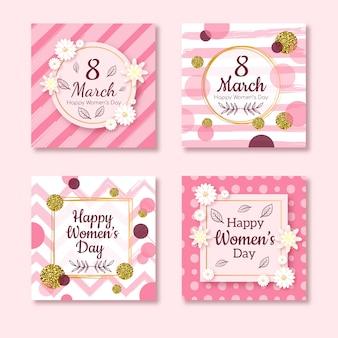Coleção de cartão de dia feliz feminino