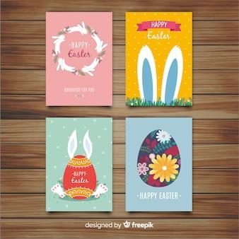 Coleção de cartão de dia plana de páscoa