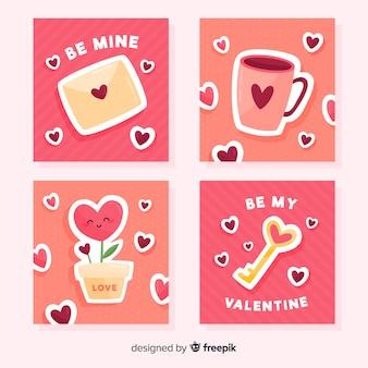 Coleção de cartão de elementos dos namorados