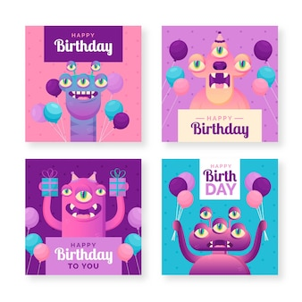 Coleção de cartão de feliz aniversário