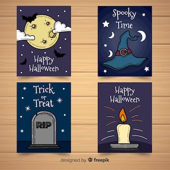 Coleção de cartão de feliz dia das bruxas na mão desenhada estilo