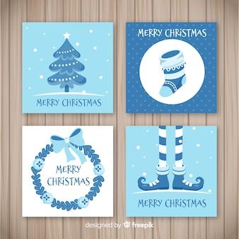 Coleção de cartão de feliz natal em cores azuis