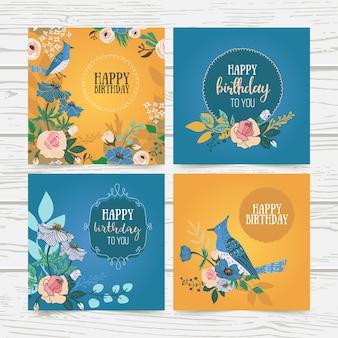 Coleção de cartão de flores de aniversário