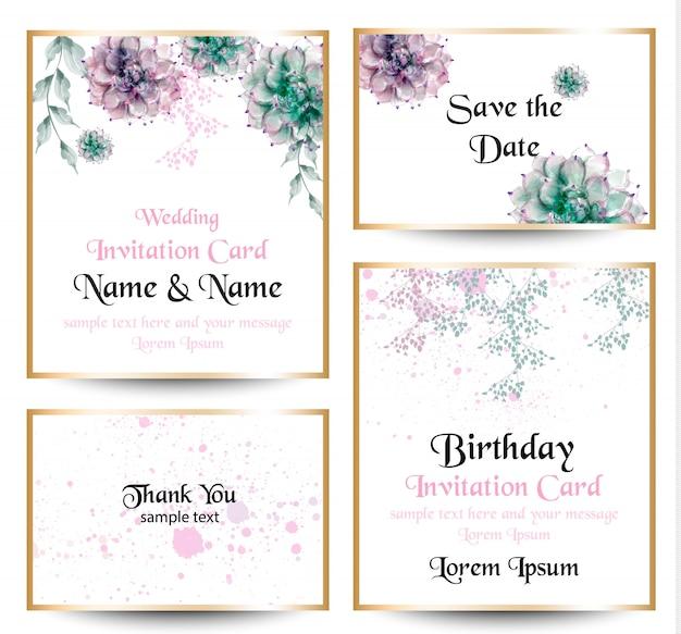 Coleção de cartão de flores em aquarela de flores