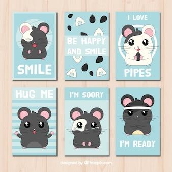 Coleção de cartão de hamster
