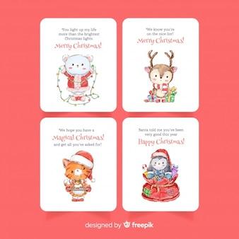 Coleção de cartão de Natal em aquarela