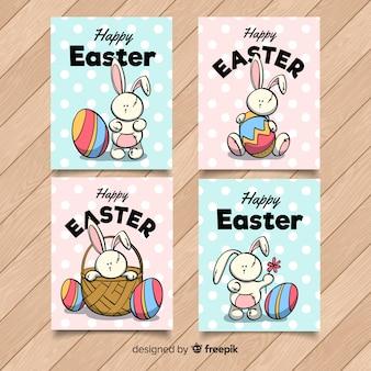 Coleção de cartão de páscoa mão desenhada coelho