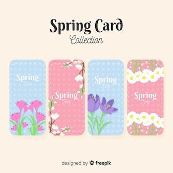 Coleção de cartão de primavera plana
