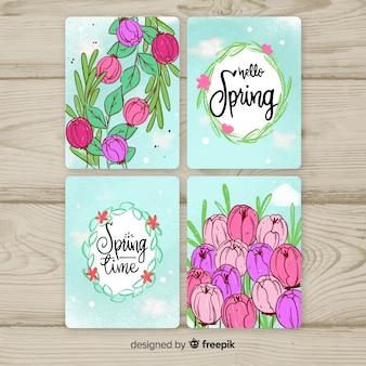 Coleção de cartão de primavera