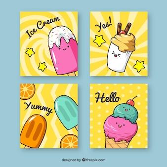 Coleção de cartão de sorvete bonito