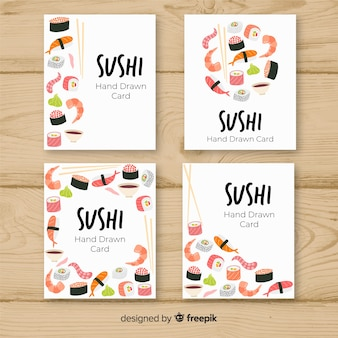 Coleção de cartão de sushi