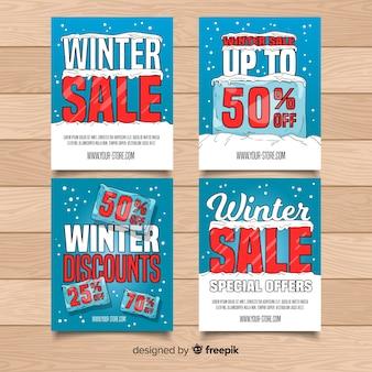 Coleção de cartão de venda de inverno de bloco de gelo