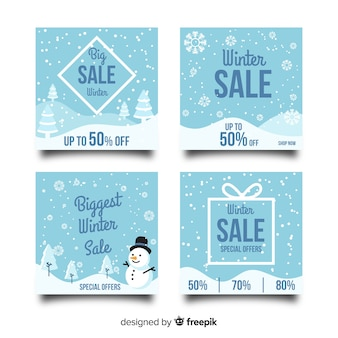Coleção de cartão de venda de inverno flocos de neve