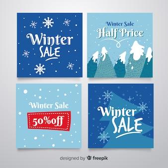 Coleção de cartão de venda de inverno