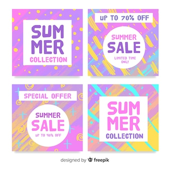 Coleção de cartão de venda verão colorido