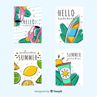 Coleção de cartão de verão desenhada de mão
