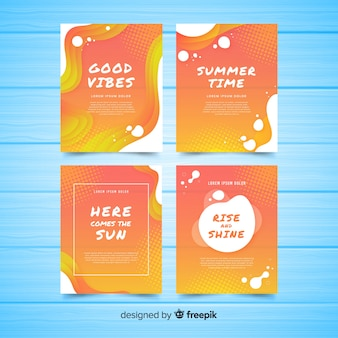 Coleção de cartão de verão líquido