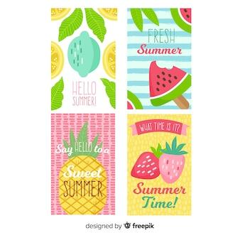 Coleção de cartão de verão plana