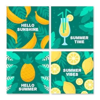 Coleção de cartão de verão tropical mão desenhada de frutas
