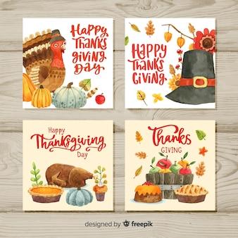 Coleção de cartão em aquarela de feliz ação de graças
