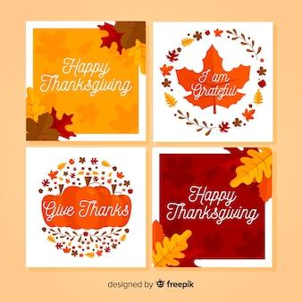 Coleção de cartão feliz ação de graças em design plano