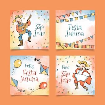 Coleção de cartão festa junina aquarela
